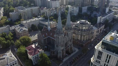 Aerial View of Gothic Style Cathedral in the Summer. Saint Nicolas Church in Kyiv, Ukraine. Roman