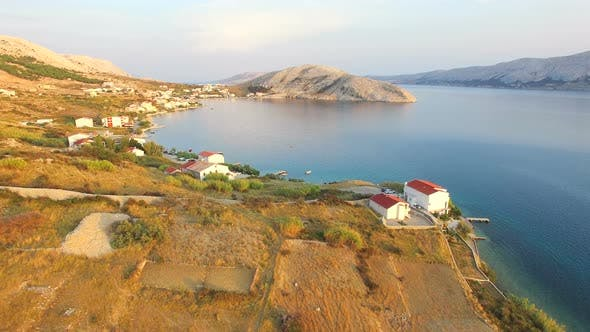 Thumbnail for Flying above above vacation properties on the island of Pag