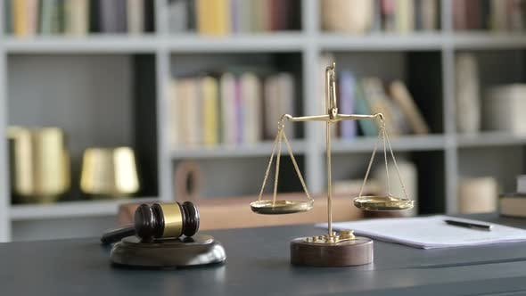 Thumbnail for Close Up of Balance Scale and Gravel on Court Room Table
