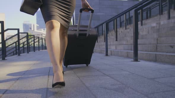 Thumbnail for Legs of Business Woman Walking with Suitcase