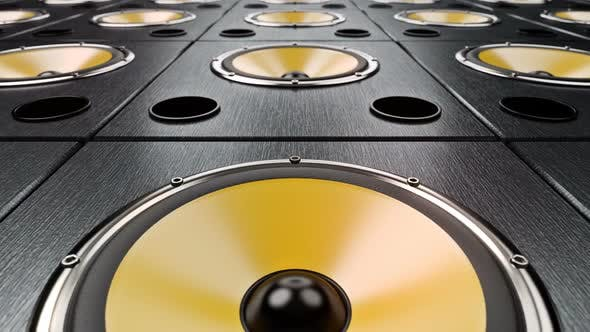 Cover Image for Moving Forward Over Audio Speakers with Yellow Membranes Playing Modern Music