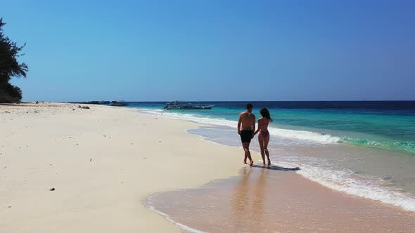 Thumbnail for Young Lady and Man Married on Vacation Enjoy Life on Beach on Summer White Sandy
