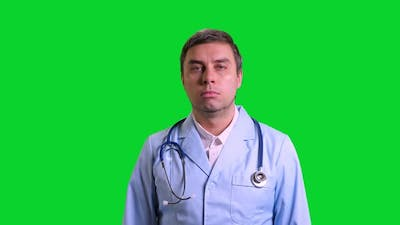 Young Doctor Stand and Smile on Green Chroma Key Background