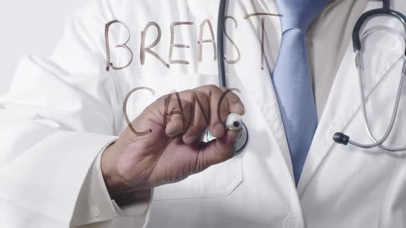 Asian Doctor Writing Breast Cancer