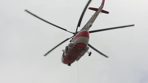 a Cargo Helicopter Establishes a Support
