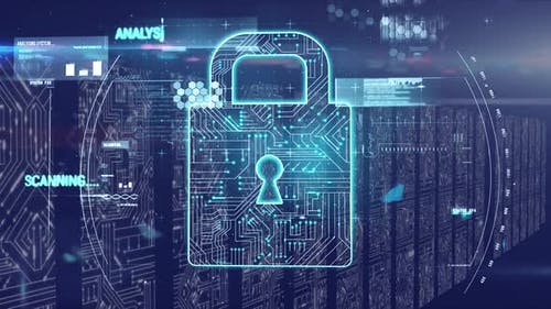 Animation of padlock with computer processors in background