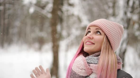 Thumbnail for Outdoor Close Up Portrait of Young Beautiful Happy Smiling Girl Wearing White Knitted Beanie Hat