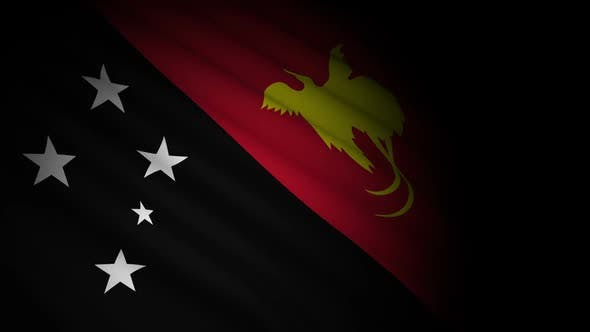 Papua New Guinea Flag Blowing in Wind