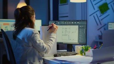 Industrial Woman Employee Studying Blueprint Idea