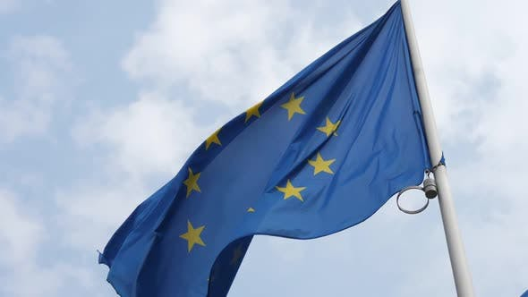 Cover Image for Great EU Banner Fluttering in Brussels As a Symbol of Alliance in Spring in Slo-mo