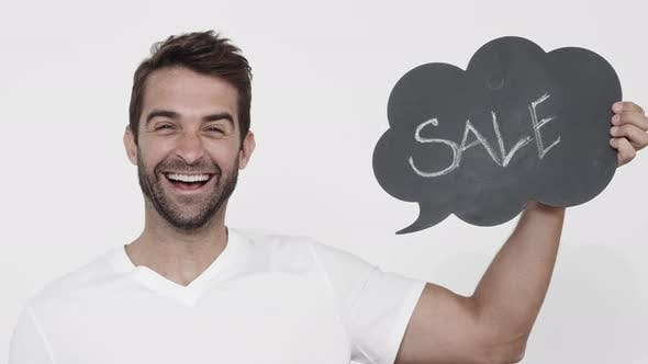 Thumbnail for Excited Man With Sale-Sign