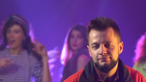 Thumbnail for Party Atmosphere People in the Club . Smoke Background. Slow Motion