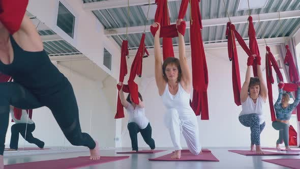 Thumbnail for Flexible Ladies Stretch with Fly Yoga Red Hammocks