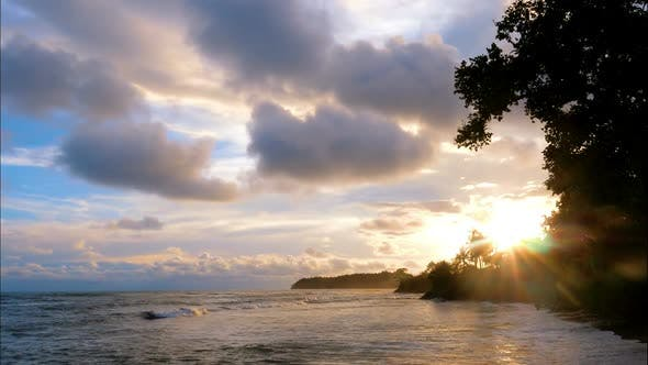 Thumbnail for Virgin Unspoiled Caribbean Beach at Sunset