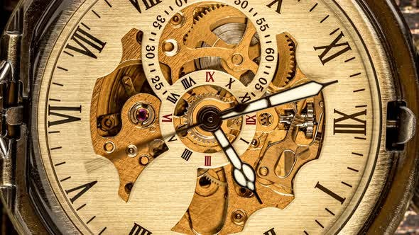 Thumbnail for Spiral Clock Track of Time. Antique Clock Dial Close-up. Vintage Pocket Watch.