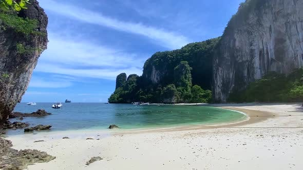 Walking on a White Sand Paradise Beach in Koh Hong Krabi Province Thailand