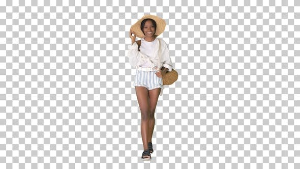 Thumbnail for Relaxed african american girl walking, Alpha Channel