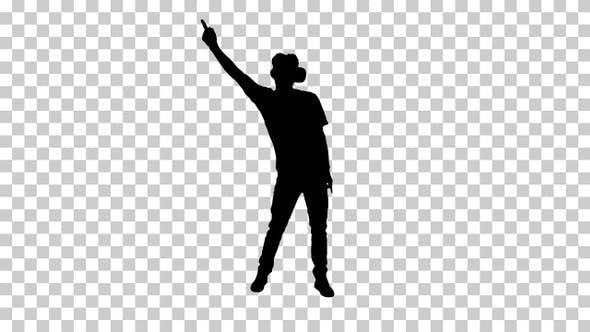 Silhouette Casual gamer dancing locking hip-hop in VR headset