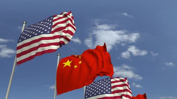 Thumbnail for Flags of China and the USA at International Meeting