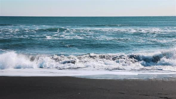 Thumbnail for Beautiful Turquoise Ocean Water with Splash of Waves and White Foam. Sea Surface
