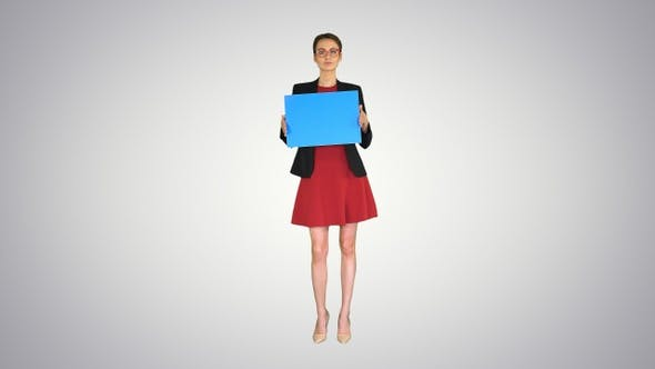 Thumbnail for Businesswoman Holding an Empty Banner on Gradient Background