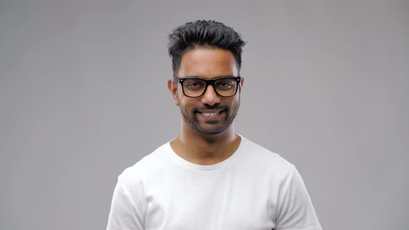 Thumbnail for Happy Indian Man in Eyeglasses or Student 16