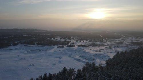 Winter Nature Landscape At Sunset