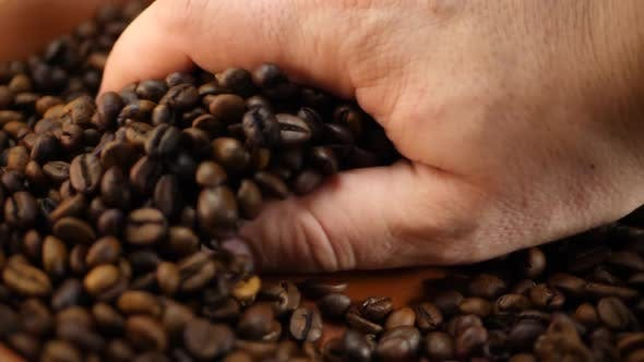 Thumbnail for Farmer Picks Up Hand Roasted Brown Coffee Beans