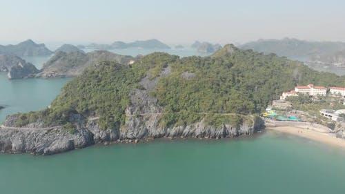 Aerial: clear blue sky at Cat Ba island, travel destination in Vietnam