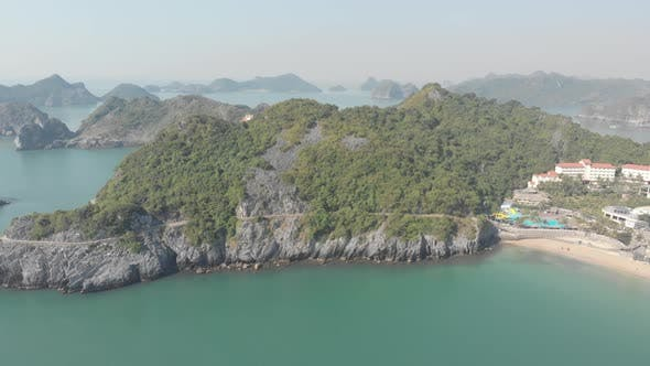 Thumbnail for Aerial: clear blue sky at Cat Ba island, travel destination in Vietnam