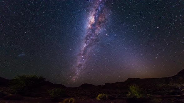 Thumbnail for Time Lapse: rotation of the Milky Way and stars in the Namib desert, night sky in africa