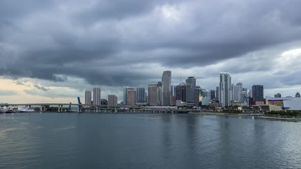 Thumbnail for Miami Downtown Skyline and Bay at Sunset