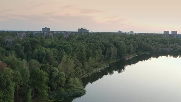 Thumbnail for Drone View of Pripyat Ghost Town and River
