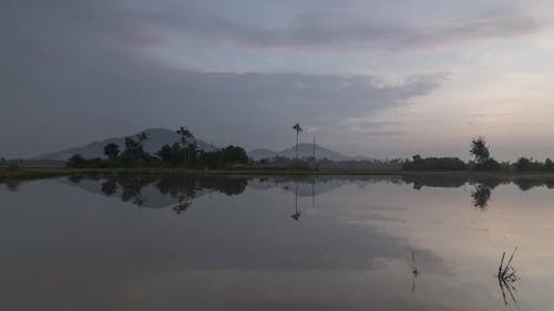 Timelapse reflection of natural vast open area during water flooded