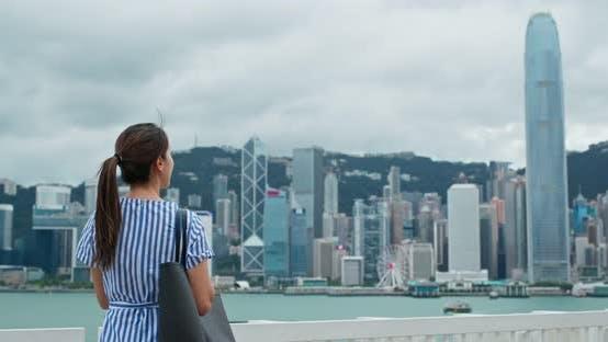 Thumbnail for Woman look at view in Hong Kong