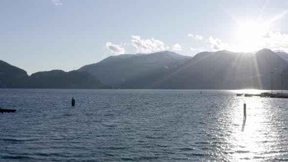 Thumbnail for Squamish Waterfront Where Howe Sound Meets The River Bc Canada Sunrays Above Mountaintop