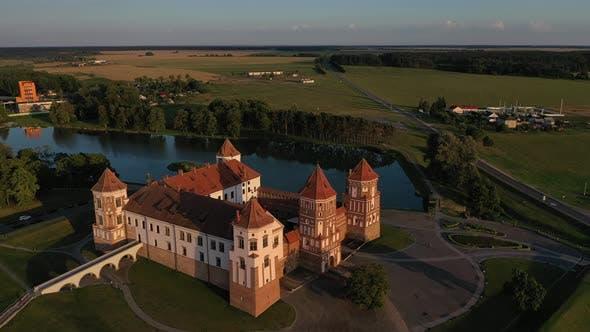Aerial View of Mir Castle in Belarus Aerial View of a Medieval Castle