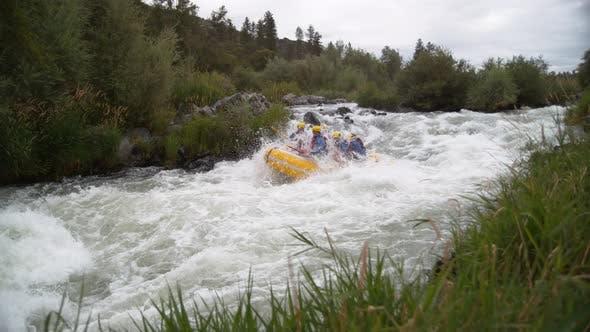 Thumbnail for Super slow motion shot of group of people white water rafting, shot on Phantom Flex 4K