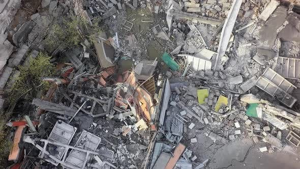 Thumbnail for An Aerial View of Ruined Construction Piled Upon the Ground
