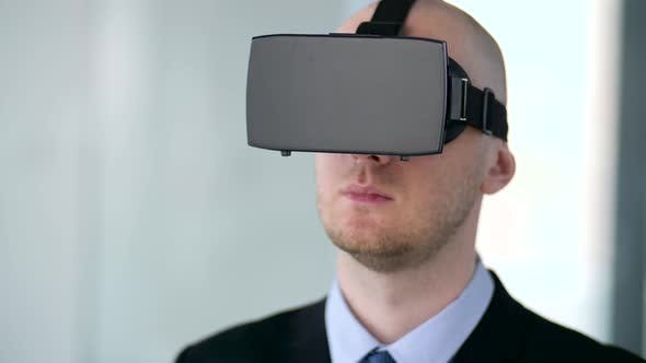 Thumbnail for Businessman with Virtual Reality Headset at Office 15