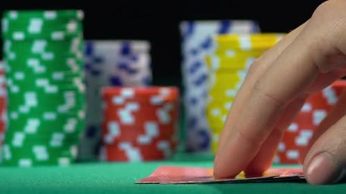 Successful Poker Player Holding Royal Flush Card Combination. Leader, Winner