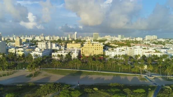 Miami Beach and Miami Downtown. Urban Skyline. Aerial View