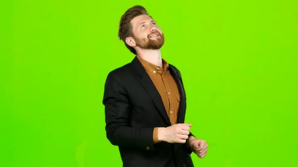 Thumbnail for Male Actor Smiles, Showing Them Different Grimaces and Language. Green Screen