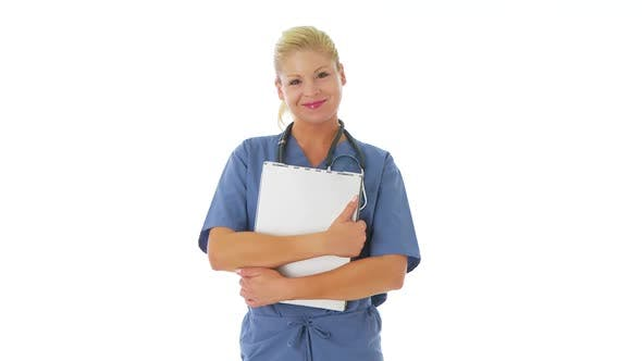 Thumbnail for Portrait of female nurse holding clipboard