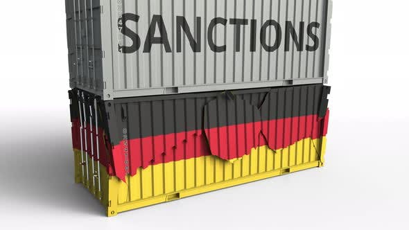 Thumbnail for Container with SANCTIONS Text Breaks Container with Flag of Germany