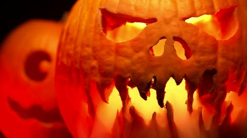 Scary Carved Halloween Pumpkins with Smoke