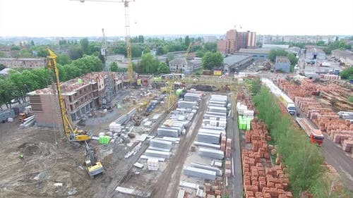 New Homes Being Built. Aerial shot of the construction building site, new homes being built