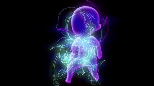 Neonbaby mit glühenden Linien