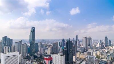 Bangkok business district city center above Silom area – Time Lapse