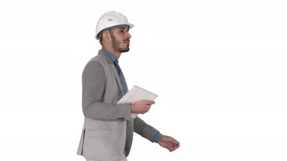 Thumbnail for Architect Walking with Tablet and Checking What Is Built on White Background